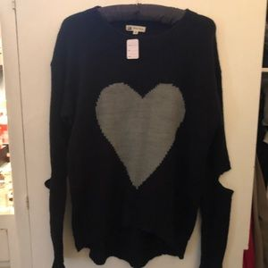 Black Sweater with Gray heart by Cotton Candy LA